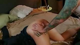 blowjob brunette couch couple small-tits little oral tattoo vagina