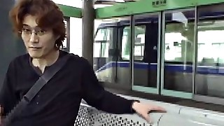 train public outdoor japanese blowjob
